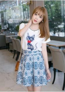 HYB8882 Casual-Top+Skirt