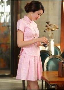 GSS1125 Cheongsam-Top+Skirt white,pink $21.60 65XXXX182438-BA5LV518