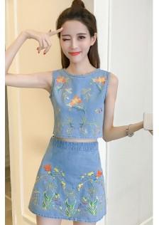 GSS077 Denim-Top+Skirt*