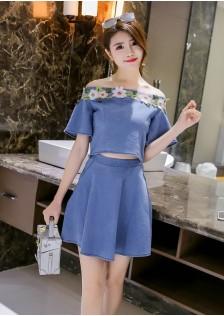 GSS9091 Denim-Top+Skirt*