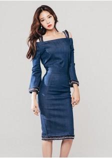 GSS218879 Denim-Top+Skirt*
